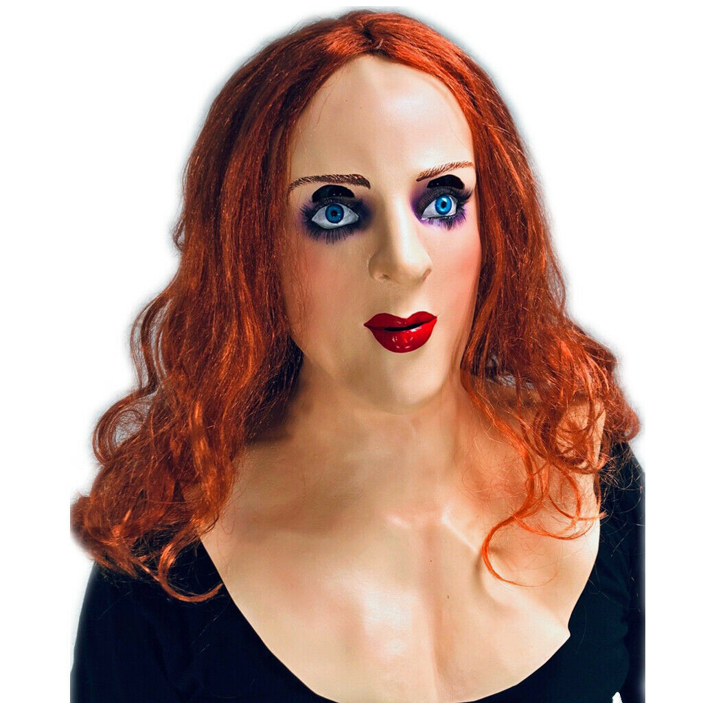 White Female Lady Doll Mask Red Ginger Hair Wig Latex -7779