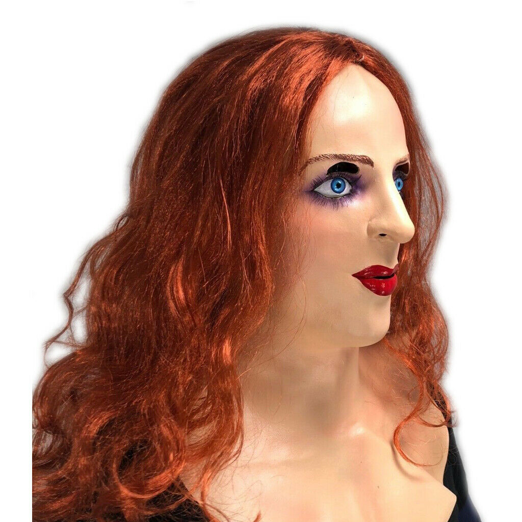 White Female Lady Doll Mask Red Ginger Hair Wig Latex -7023