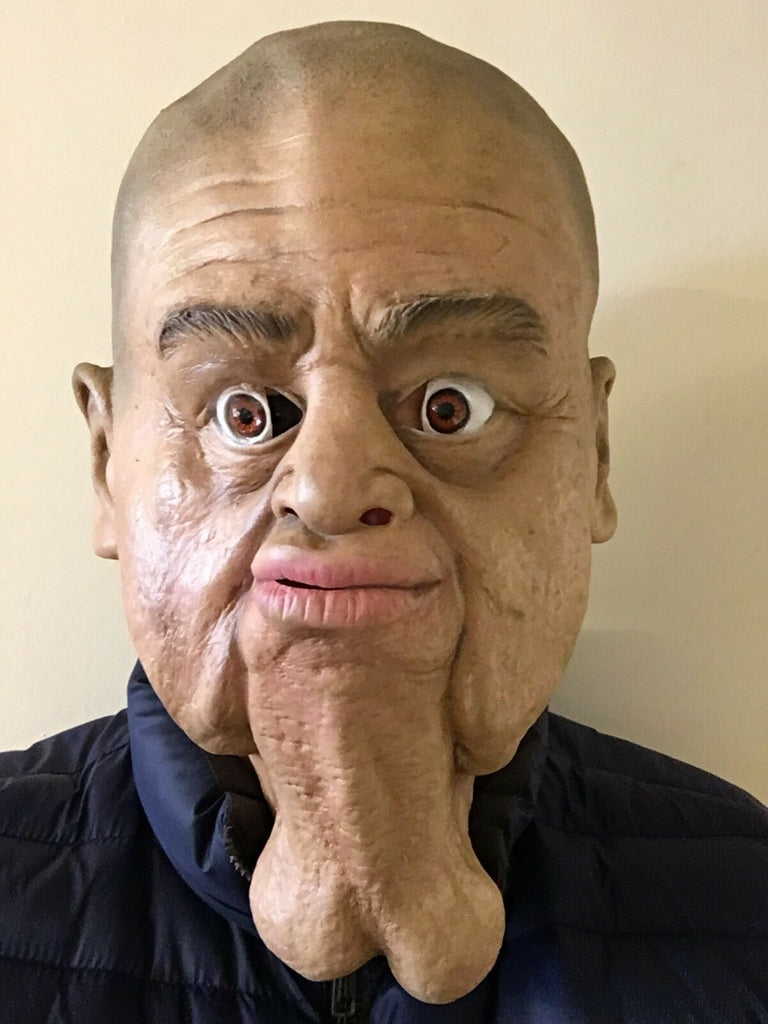 FUNNY REALISTIC OLD BALD MAN MASK LATEX BALLS SCROTUM CHIN STAG PARTY DICK NOSE