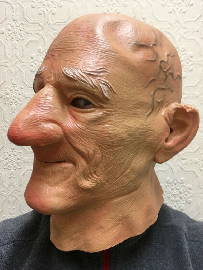 Old Man Mask Bald Head Big Chin Grandad Bad Dirty Grandpa Latex Fancy Stag Party