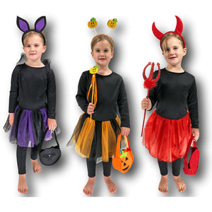 Girls Cute Bat Pumpkin Devil Tutu Costume