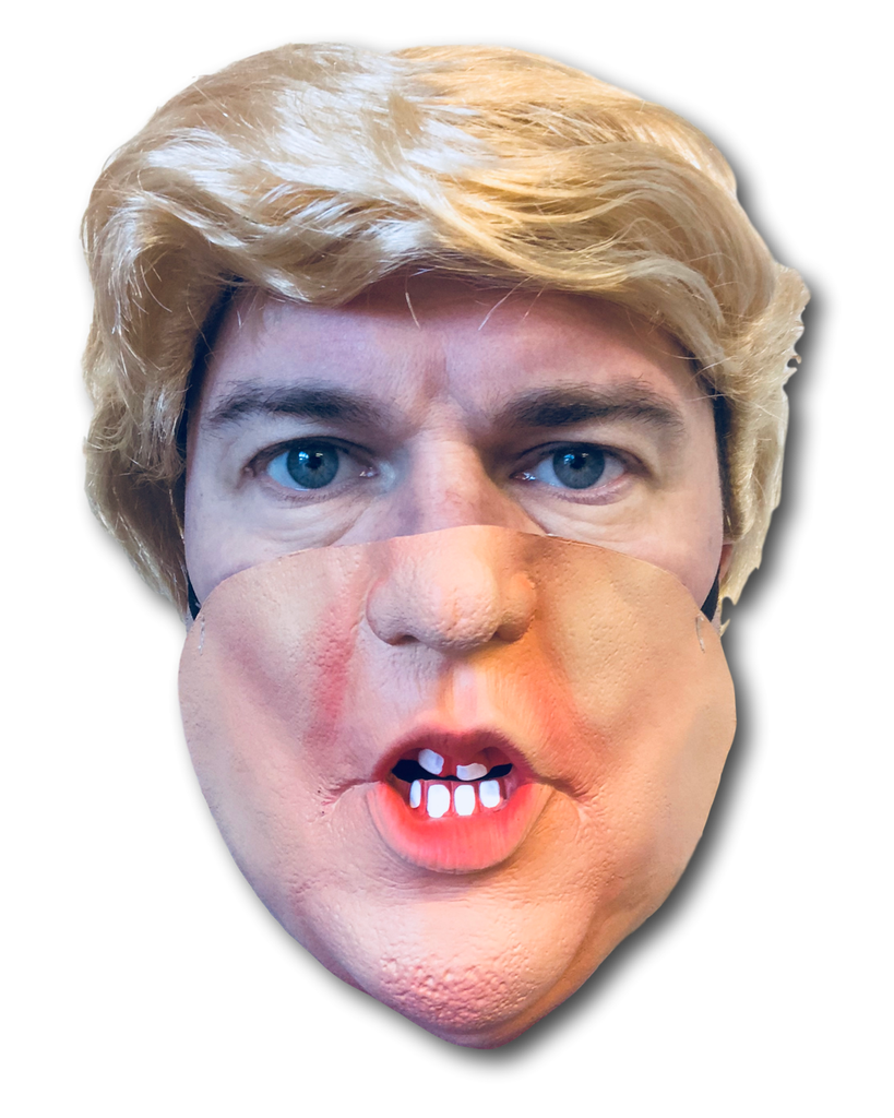 Donald Trump Mask Half Face & Blond Comb Over Wig US President Fancy Dress