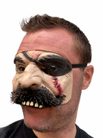 Pirate Mask Half Face Blackbeard Costume Eye Patch Halloween Accessory