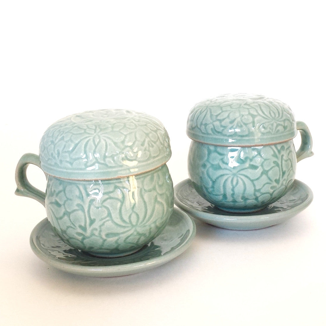 Celadon infuser cup set - Embossed Arabesque
