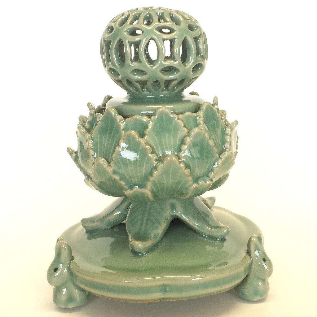 Incense Burner Celadon with openwork decoration