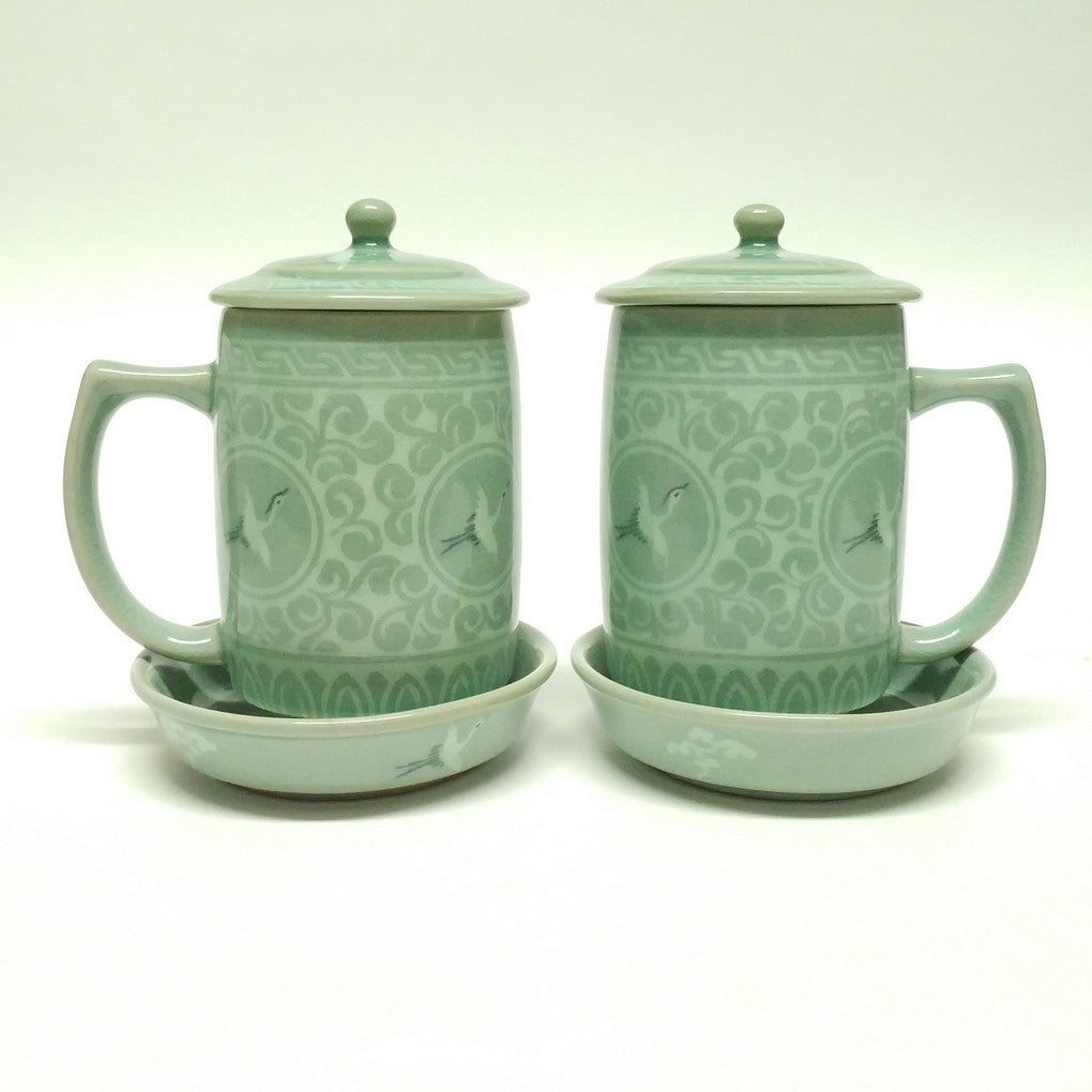 celadon mug set - crane & cloud