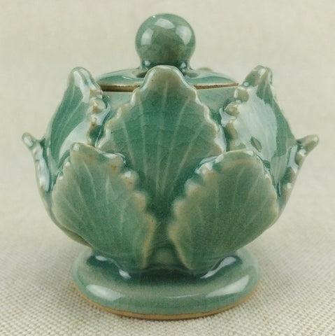 celadon incense burner - Lotus Flower