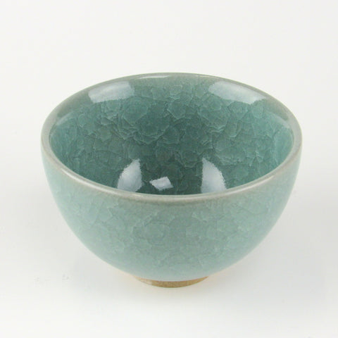 Japanese teacup - sencha Turquoise Crackle