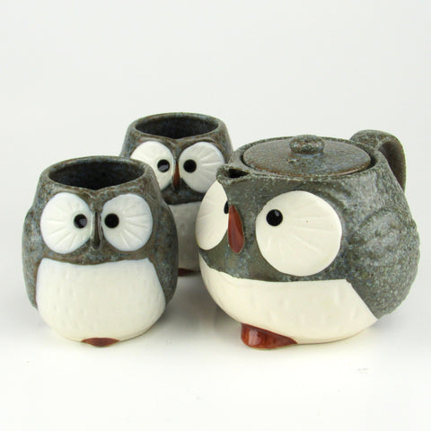 Owl Ceramic Tea Set Blue Grey