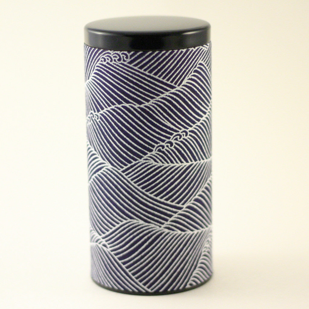 Japanese tea tin - Indigo Chiyogami