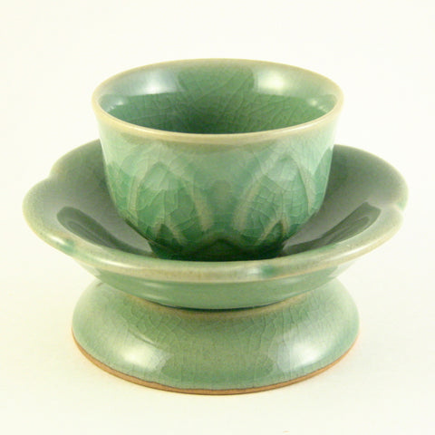ceremonial celadon teacup with holder - Lotus flower