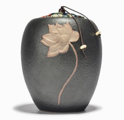 tea caddy - lotus flower carving