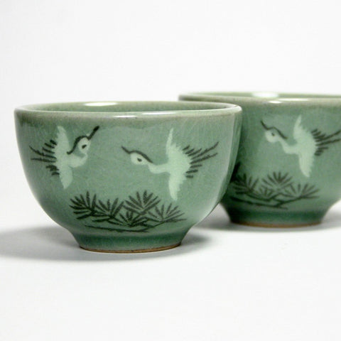 Korean celadon teacup - Pinetree Crane
