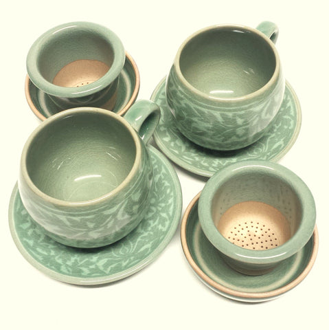 celadon infuser cup set - White Arabesque