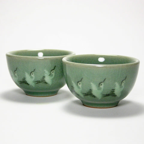 Korean celadon teacup - Three Cranes