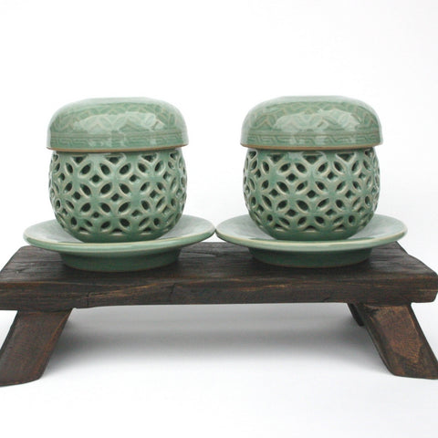 Infuser mug Set of 2 - Celadon Web