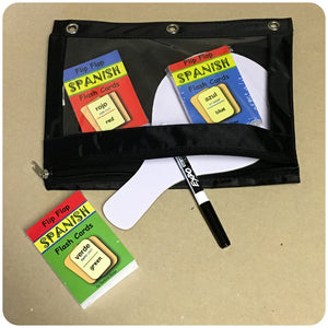 Three-Ring Zipping Binder Pouch (Black) - Homeschool Spanish Curriculum | Flip Flop Spanish