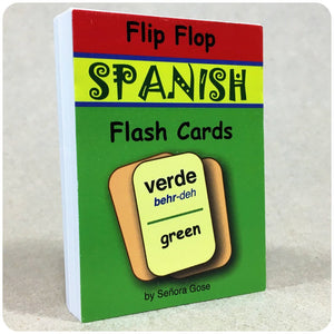 Flip Flop Spanish Flash Cards: Verde - Homeschool Spanish Curriculum | Flip Flop Spanish