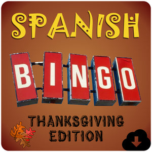 Spanish Bingo Thanksgiving Edition - Homeschool Spanish Curriculum | Flip Flop Spanish