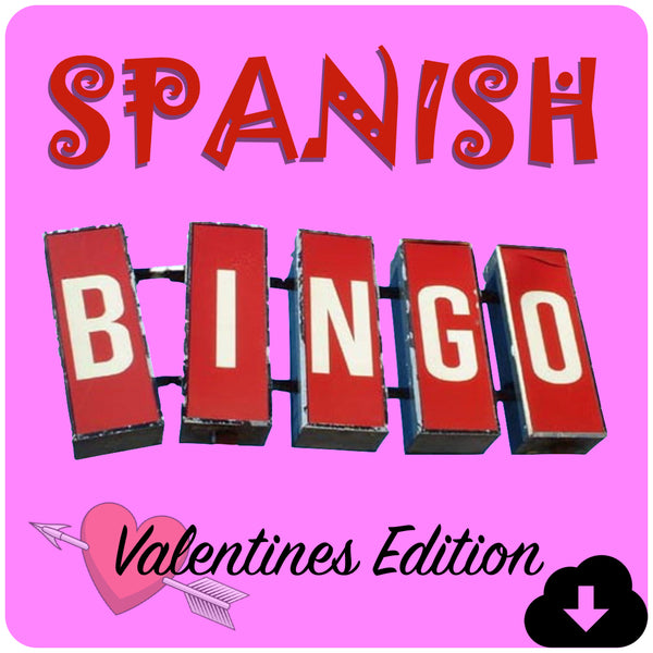 Spanish Bingo Valentines Edition - Homeschool Spanish Curriculum | Flip Flop Spanish