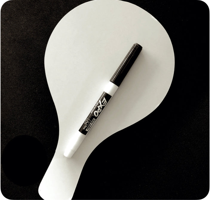 Individual White Board Paddle with Marker