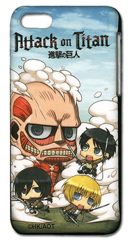 Chibi Eren, Mikasa, and Armin vs Colossal Titan iPhone 5c Case