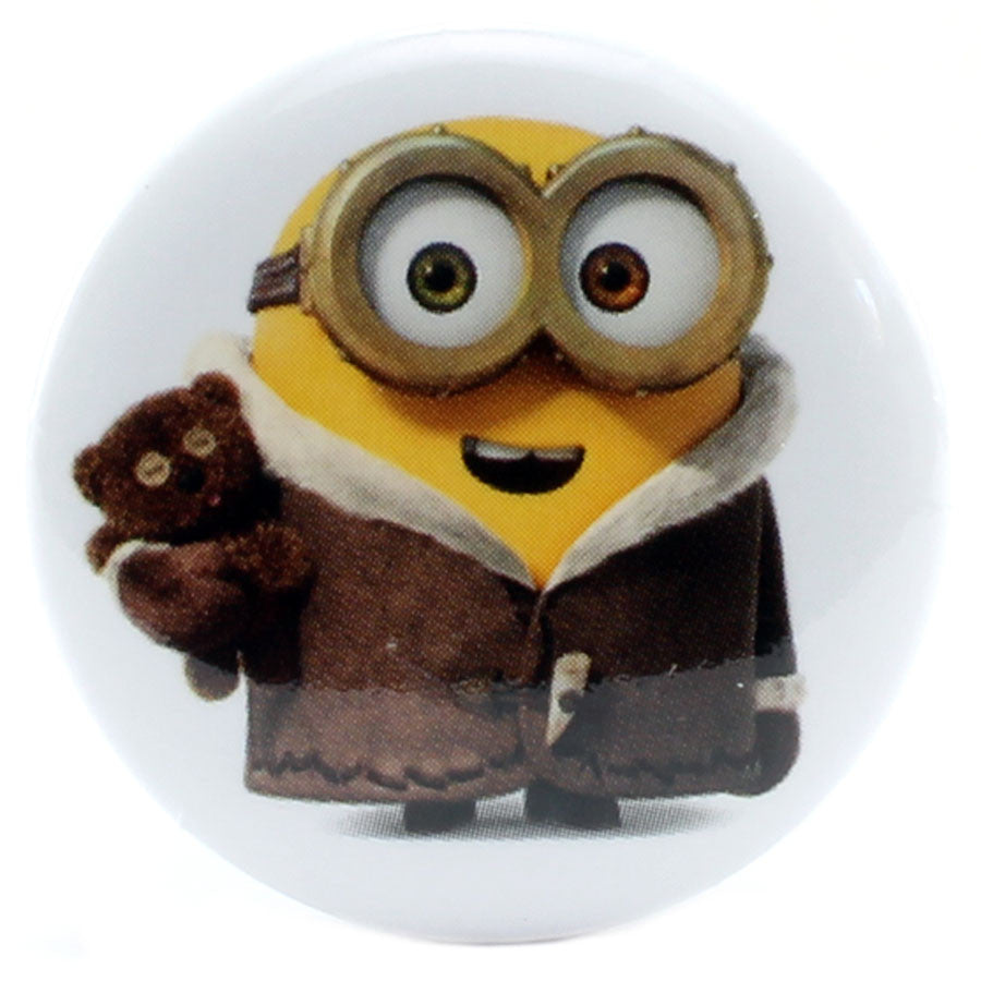 "Coat Wearing Bob with Teddy Bear 1.25"" Button - THATWEBSTORE"