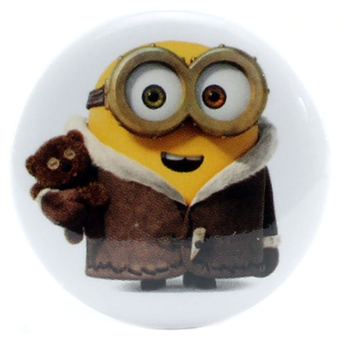"Coat Wearing Bob with Teddy Bear 1.25"" Button"