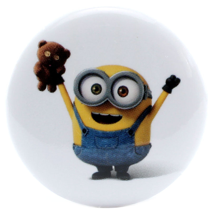 "Minions Excited Bob with Teddy Bear 1.25"" Button"