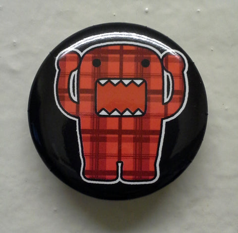"Yelling Red Plaid Domo 1.25"" Button"