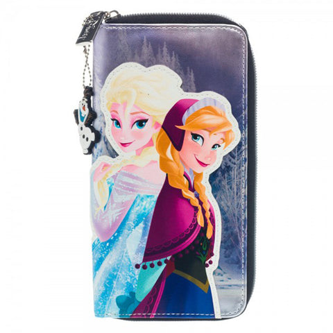 Anna and Elsa Zip Around Wallet with Olaf Charm