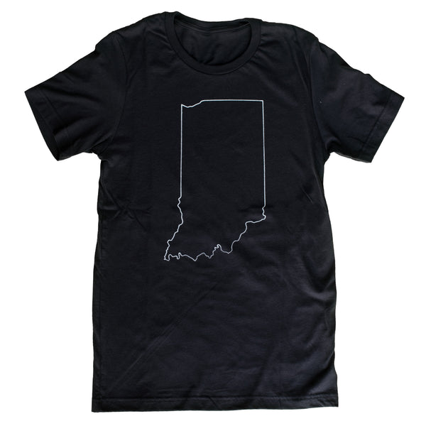 Black Indiana Outline T-Shirt