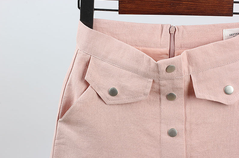 Front Button Linen Skirt