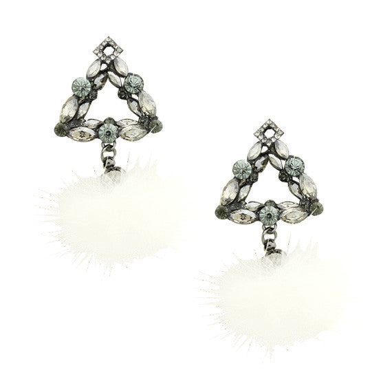 Triangle Mink Fur Earrings