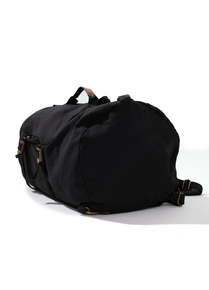 Black Canvas Duffel Backpack