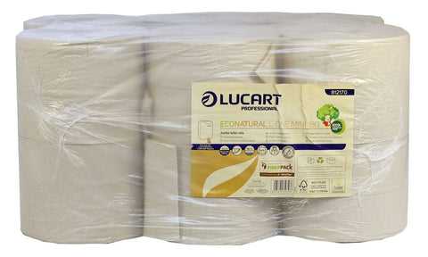Lucart 812170 L-ONE Mini 180 EcoNatural 2 Ply Centrefeed Toilet Roll X 12 rolls