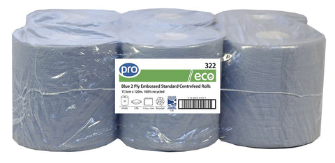 Pro Blue 2 Ply Centre-feed Roll x 6