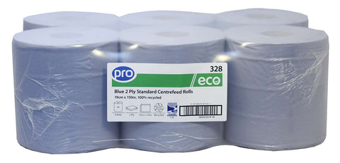 PRO Blue 2 Ply Economy Centre-feed Roll x 6