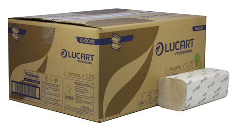 Lucart 863049 EcoNatural V2.25 Interfold 2 Ply Paper Towel x 3800