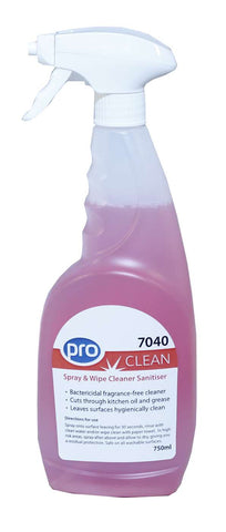 PRO Spray & Wipe Cleaner Sanitiser Fragrance-Free 6 X 750ml