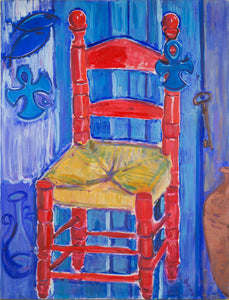 Red chair, blue ankhs ND 7, by Nana Daou