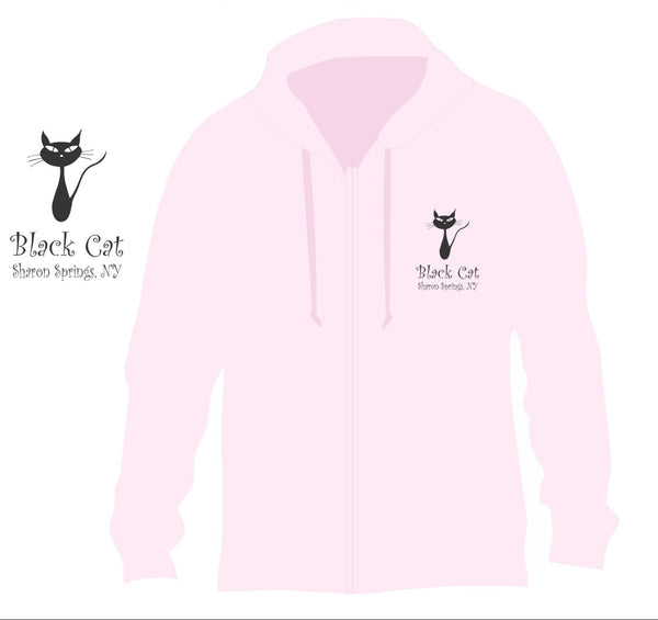 Hoodie PINK! with Black Cat logo