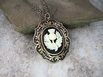 Handmade Scottish Thistle Cameo Necklace