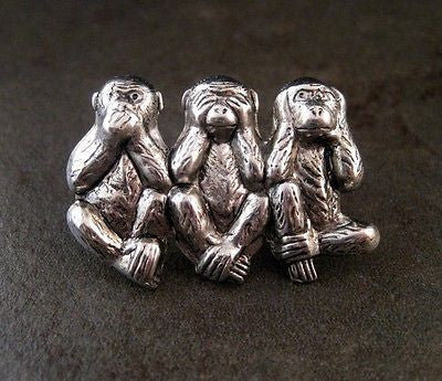 Handmade Speak Hear See No Evil Monkey Steampunk Tie Tack Lapel Pin Brooch