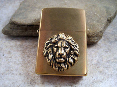 Handmade Brushed Gold Oxidized Brass Lion Head Cigarette Lighter
