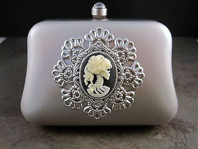Handmade Matte Silver Metal Lolita Day Of The Dead Minaudiere With Chain