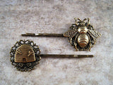 Handmade Antique Bronze Bee And Hive Brass Bobby Pins