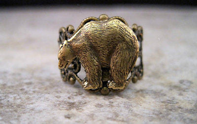 Handmade Oxidized Brass Bear Adjustable Filigree Ring