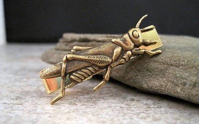 Handmade Gold Brass Steampunk Grasshopper Tie Bar Clip