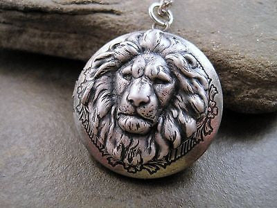 Handmade Oxidized Sterling Silver Lion Locket Necklace